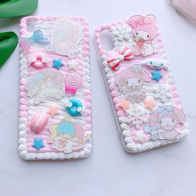 For huawei P30 pro/P20 plus /nova3e Gemini DIY case, 3D melody cover for samsung s10 plus handmade cream candy case gift