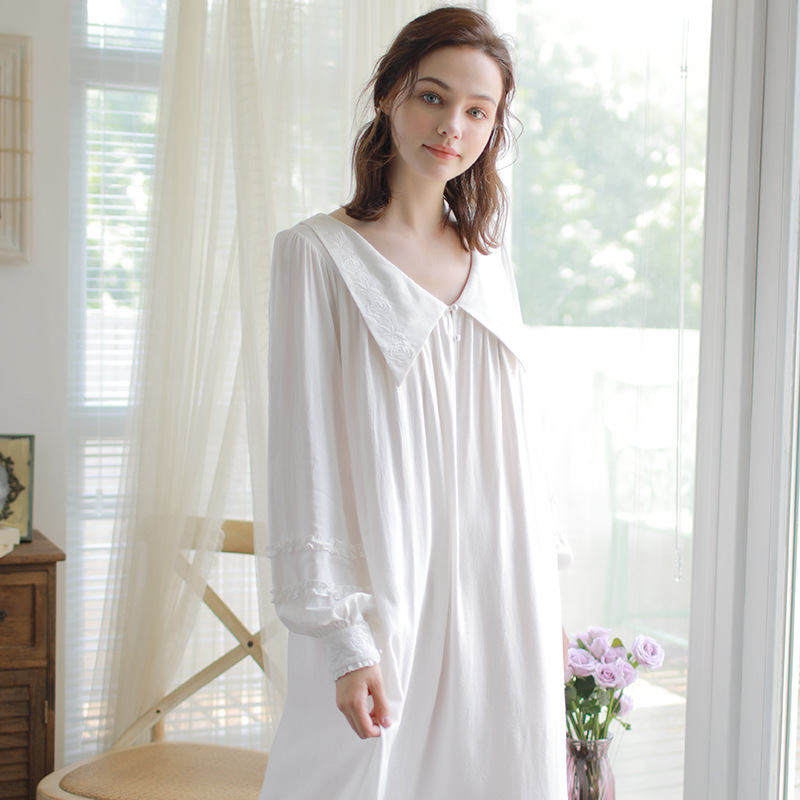 Autumn Cotton Women's Nightgowns Princess Long Sleeve Embroidery White Sleepwear Vintage Nightdress Spring Home Clothes 18366