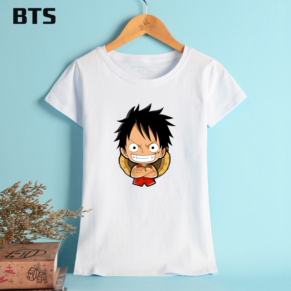 BTS One Piece T shirts Women Summer Style Short Sleeve Casual Streetwear Tops Japanese Anime Tee