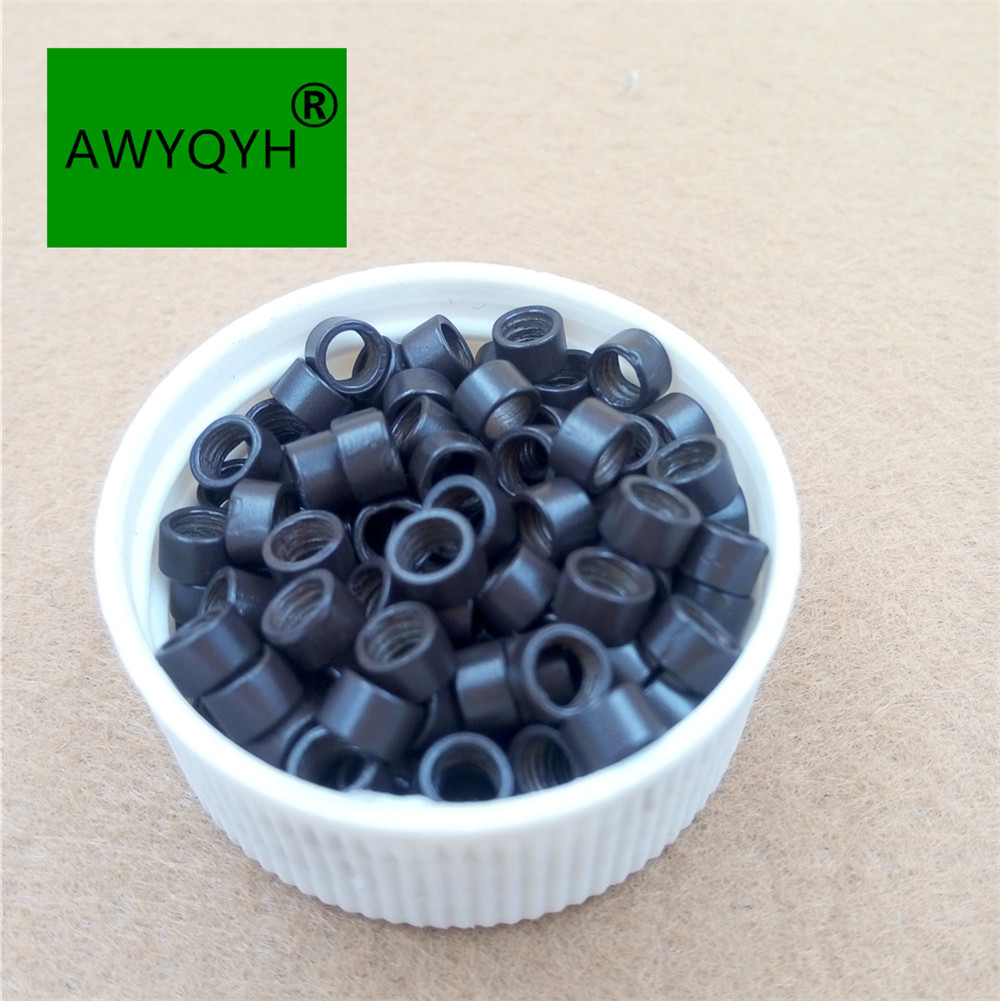 10000pcs 4530 4.5 mm aluminium Hair Extensions Micro Rings Beads Links with Screw thread 3# dark brown