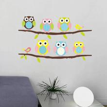 New Arrival Lovely Cartoon  Owls on tree wall stickers for kids rooms decorative adesivo de parede pvc wall decal