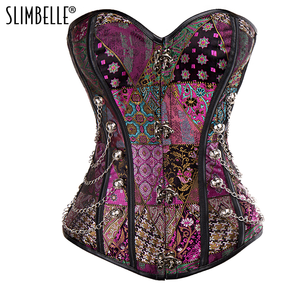 Women's Spiral Steel Boned Steampunk Gothic   Bustier     Corset   Retro Waist Cinchers Buckles Lace Up Waist Trainer   Corset   Top S-2XL