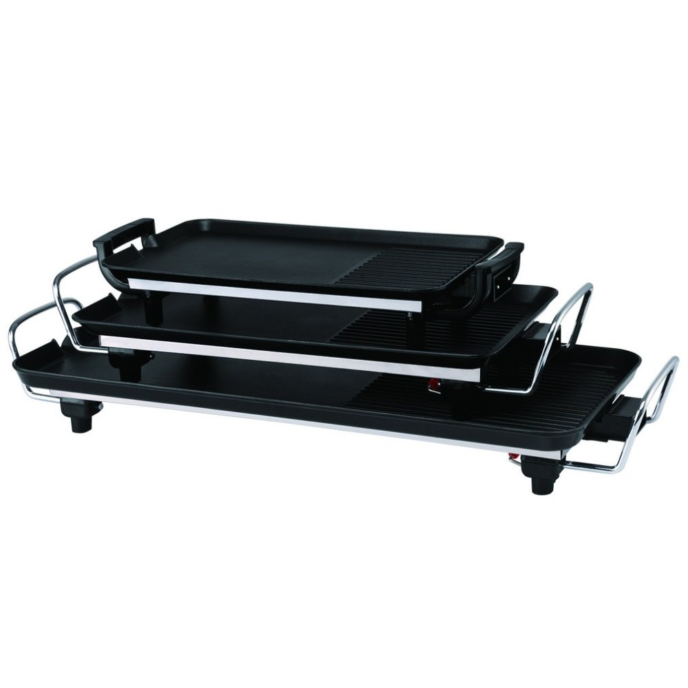 Black Non-slip Feet Variable Heat Settings Electric Teppanyaki Table Top Grill Griddle BBQ Barbecue Camping With SpatulaBlack Non-slip Feet Variable Heat Settings Electric Teppanyaki Table Top Grill Griddle BBQ Barbecue Camping With Spatula