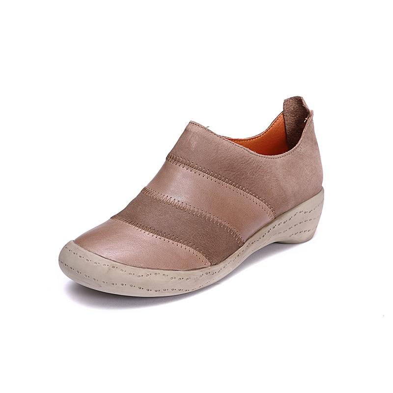 Stiefeletten Neuheit Bootie Vintage Herbst Leder Echtes Wedges 2018 Schuhe Mischfarbe Frauen Damen SchwarzRosaRot Hand 6b7gfy