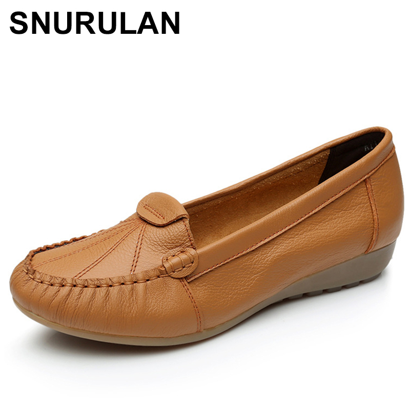 SNURULAN Old Mother Shoes Women Flats Loafers Cow Genuine   Leather     Suede   Slip On Rubber Casual Round Toe Vintage 34-43E700