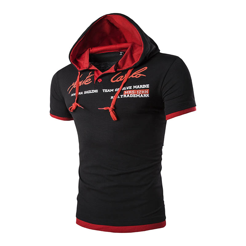 Men Leisure T-Shirt Summer Fashion Hooded Collar Short Sleeve