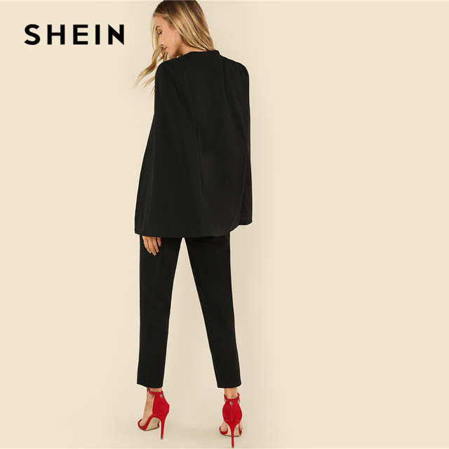 SHEIN Black Party Elegant Wrap Plunging V Neck Cloak Long Sleeve Solid High Waist Maxi Jumpsuit Autumn Women Casual Jumpsuit 2