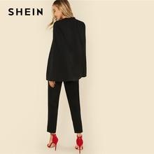SHEIN Black Party Elegant Wrap Plunging V Neck Cloak Long Sleeve Solid High Waist Maxi Jumpsuit Autumn Women Casual Jumpsuit