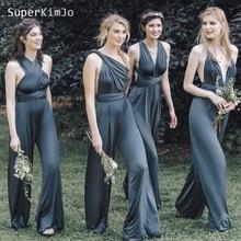 SuperKimJo Convertible Jumpsuits for Wedding Party Dress 2019 Gray Cheap Bridesmaid Pants Women Robe Demoiselle Dhonneur