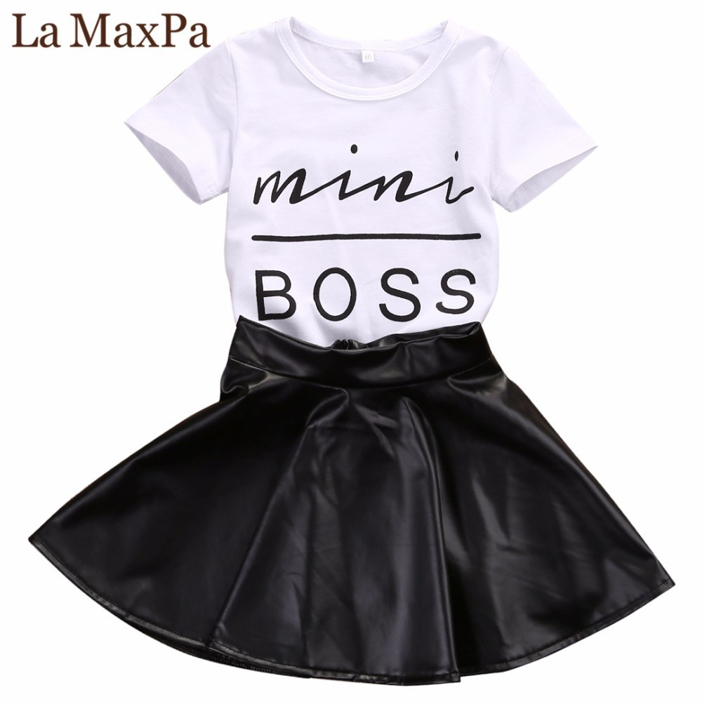 Summer Fashion 2PCS Toddler Infant Kids Girl Clothes Set Mini Boss T-shirt Tops + Leather Skirt Outfit Child Suit 2018 little j new fashion kids girl clothes set summer short sleeve love t shirt tops leather skirt 2pcs outfit children suit