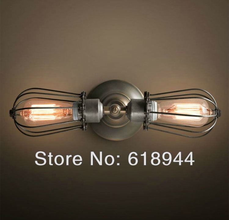 Hot Selling Double Heads Edison Vintage Wall Lamps for Home, Industrial Antique Lighting 110V-240V vintage wall light bed light vintage loft double heads marble stone shaded