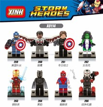 XINH 259-266 Compatible with Legoe DC SuperHeroes Minifigures Captain She-Hulk Black Panther IronMan Building Block Bricks Toys