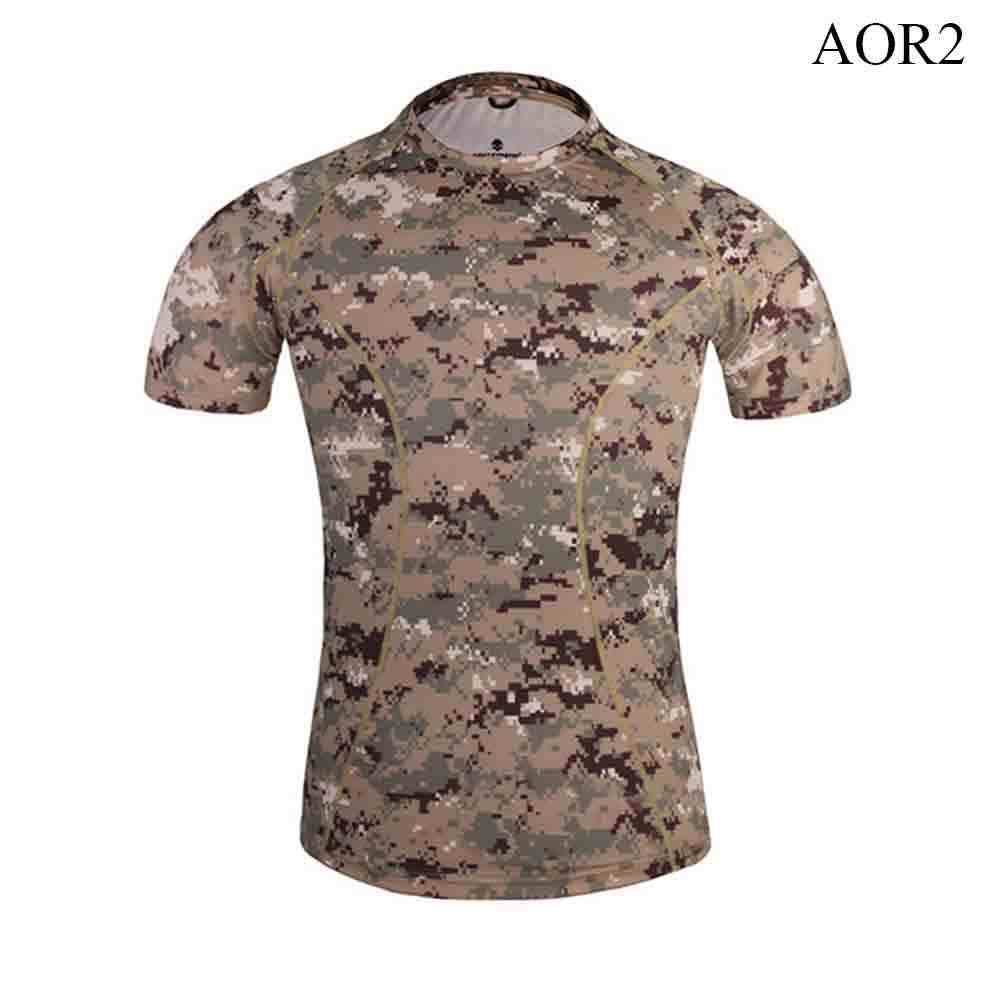 Camiseta de manga corta transpirable de camuflaje de capa Base ajustada de piel de Emersongear