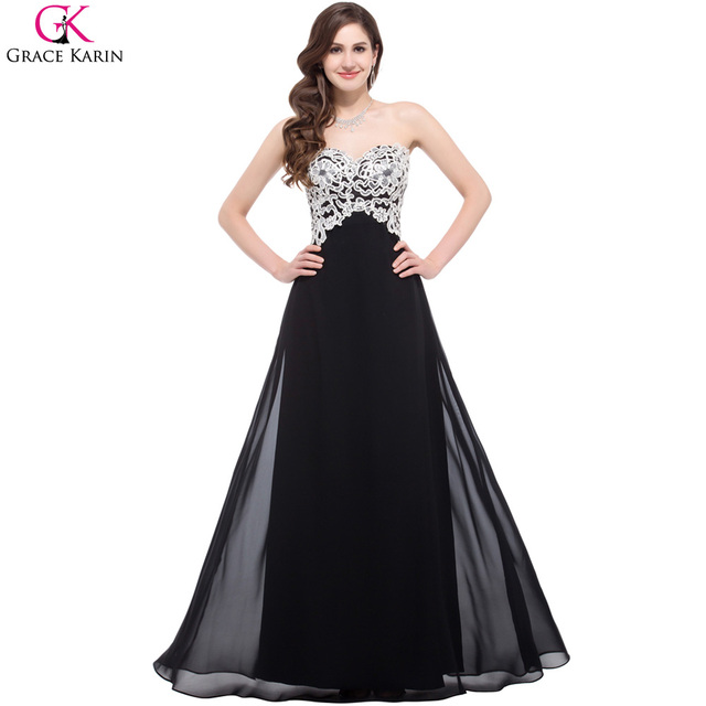 Long Black Prom Dresses Grace Karin Strapless Chiffon Lace Sequin ...