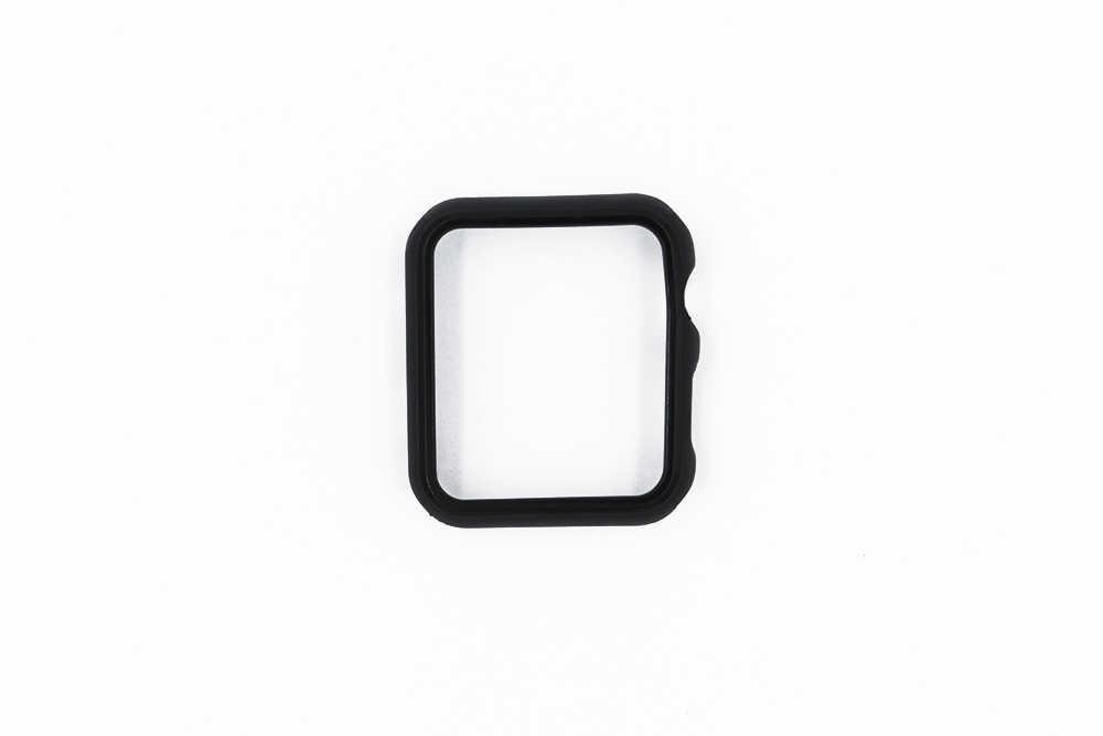URVOI غطاء ل أبل سلسلة ساعة 5 4 3 قطعة حزام حزام سليم صالح حامي ل iWatch كلاسيكي تصميم البلاستيك الأسود الإطار 38 42 مللي متر