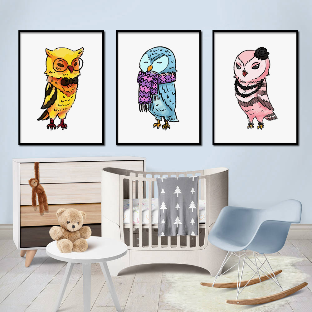 Watercolor Owl Animals Nordic Posters and Prints Wall Art Canvas Painting Nursery Wall Pictures For Baby Kids Room Bedroom Decor in Painting Calligraphy from Home Garden
