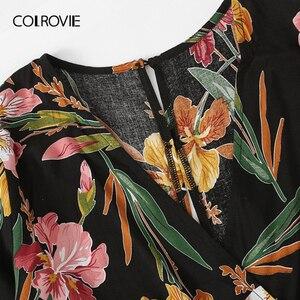 Image 3 - COLROVIE Plus Size V Hals Superplie Bloemenprint Blouse Met Broek Vrouwen Boho Tweedelige Set 2019 Zomer Kleding Vakantie outfits