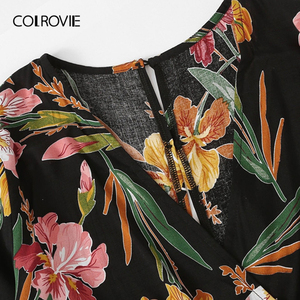 Image 3 - COLROVIE Plus Size V Neck Surplice Floral Print Blouse With Pants Women Boho Two Piece Set 2019 Summer Clothes Holiday Outfits