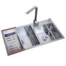 304 нержавеющая сталь проволока рисунок утолщение 3 мм кухня ручная раковина с двойной чашей слоты и держатель ножа набор для умывальника