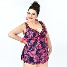 Más el Tamaño de trajes de Baño Sexy Tankni Con Calzoncillos Boxer Impresa Trajes de Baño de la Mujer Traje de Baño de Dos Piezas Traje de Baño de Las Señoras Beachdress