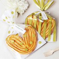 New Year Christmas Gold Gift Bag Polka Dots Striped Plastic Bag For Candy Cookie Cake 50