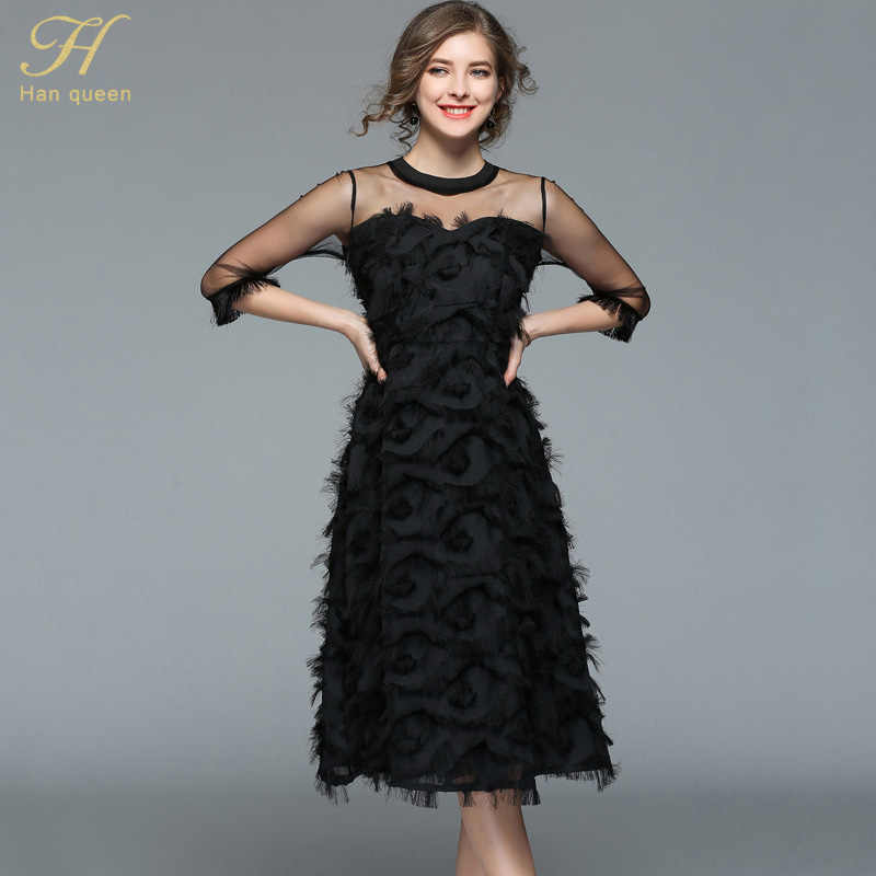 H Han Queen 2018 été femmes sexy maille robe noire mode évider robes gland plume décontracté slim vintage fête robes
