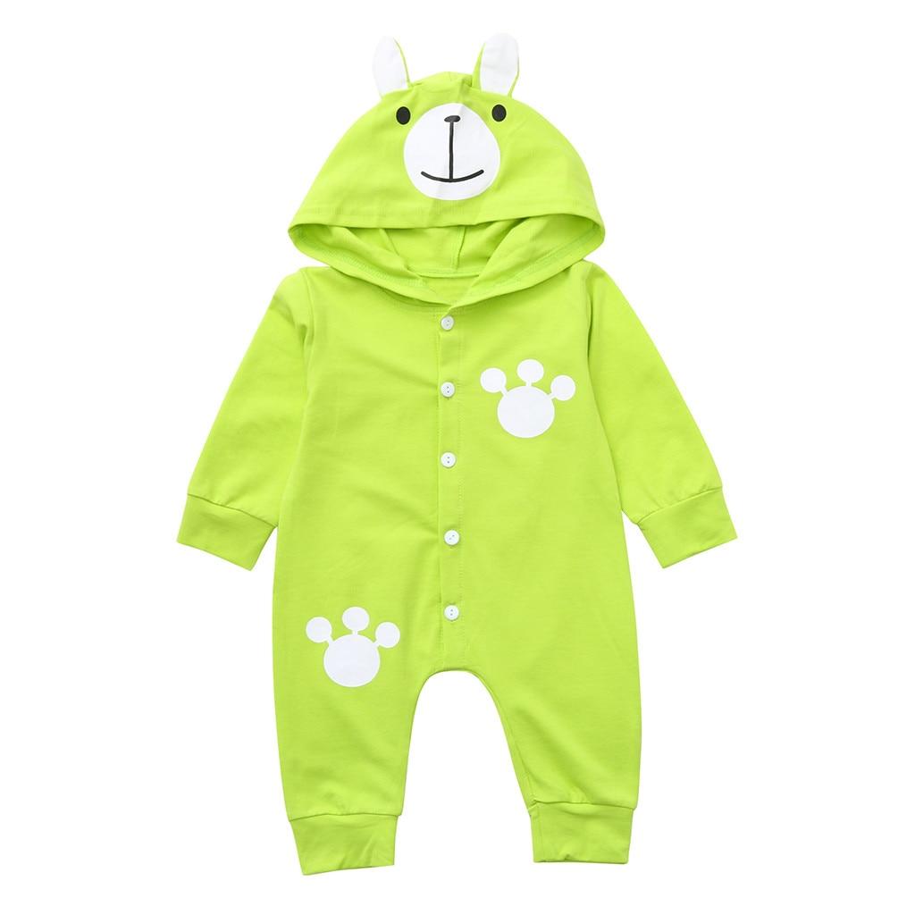 Szyadeou Infant Baby Jumpsuit Boys Girls Long Sleeve Cartoon Bear Print Hoodie Romper Outfits Clothes Vestido Infantil C4