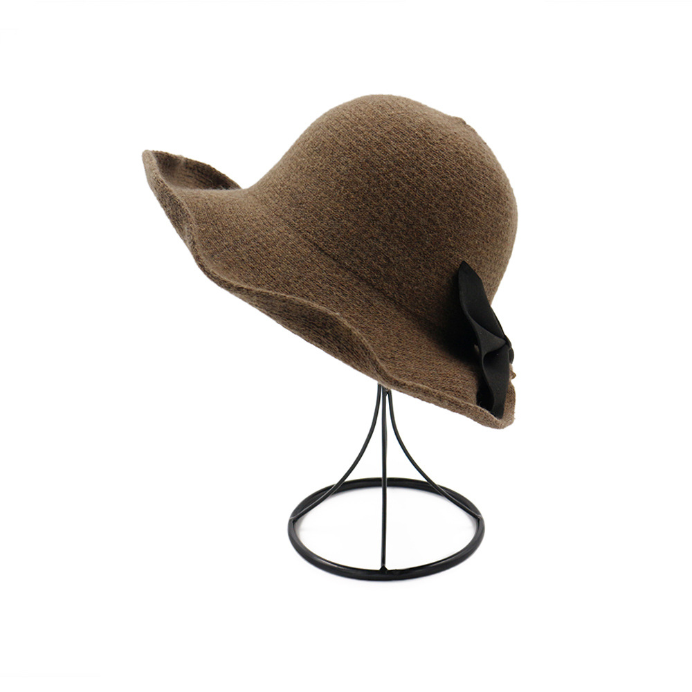 3093331219daf  AETRENDS  2017 New Winter Wide Brim Wool Bucket Hat Women s Crimping  Fedora Bow Tie Bucket Cap Z 5965-in Bucket Hats from Apparel Accessories on  ...
