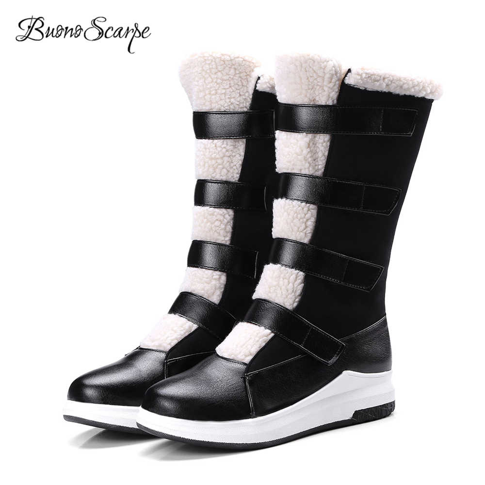 BuonoScarpe 2018 New Fashion Women Snow Boots Wool Blend Patchwork Warm  Winter Boots Girls Mid Calf ad28f68bf014
