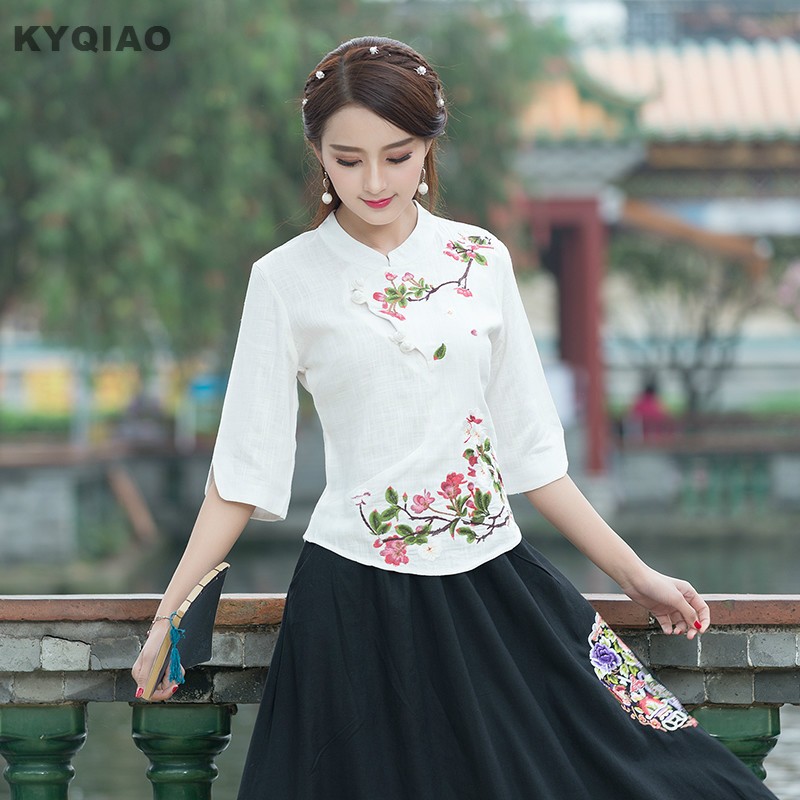 Women's Clothing Kyqiao Traditional Chinese Clothing Female Autumn Ethnic Half Sleeve Mandarin Collar Blue White Embroidery Frog Blouse Shirt Top Rich In Poetic And Pictorial Splendor