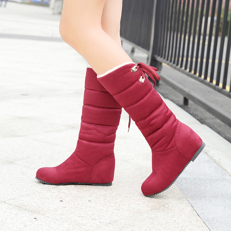 New Arrival Ladies Snow Boots 2017 Plus velvet warm Keep Winter Cotton Shoes Flat with Knee High Boots Shoes for Women winter warm snow boots cotton shoes flat heels knee high boots women boots wholesale high quality
