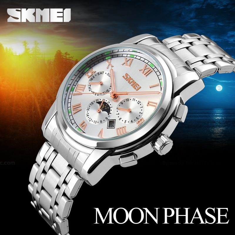 цена на SKMEI Men's Watches Men Quartz Watch Week Moon Phase Auto Date Stainless Steel Waterproof Clock Watches Men Fashion Watch 2018
