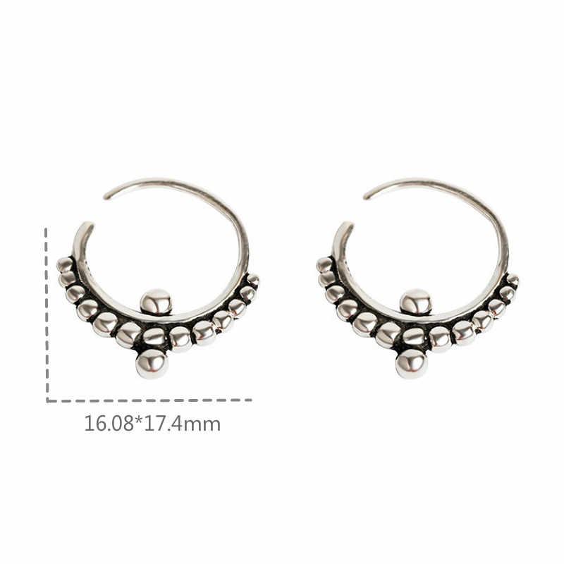 Flyleaf 925 prata esterlina círculo grânulo hoop brincos para as mulheres vintage simples brincos moda jóias de alta qualidade