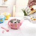 Placa BPA Livre Dos Desenhos Animados do bebê Crianças Aço Inoxidável Otário Alimentação Tigela Placa prato tigela de Água De Enchimento de Alimentos Quentes