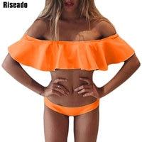 Riseado Summer Ruffle Bikinis Set Swimwear Women Sexy 2017 Low Waist Bottom Swimsuit Beach Bathing Suits