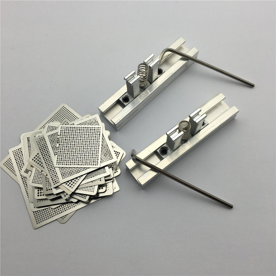 1Set 29pcs Universal Direct Heating BGA Stencils Templates + 2pcs Reballing Jig For Chip Rework Repair Soldering Kit bga reballing station jig 184pcs 80x80mm templates kit for laptop desktop xbox