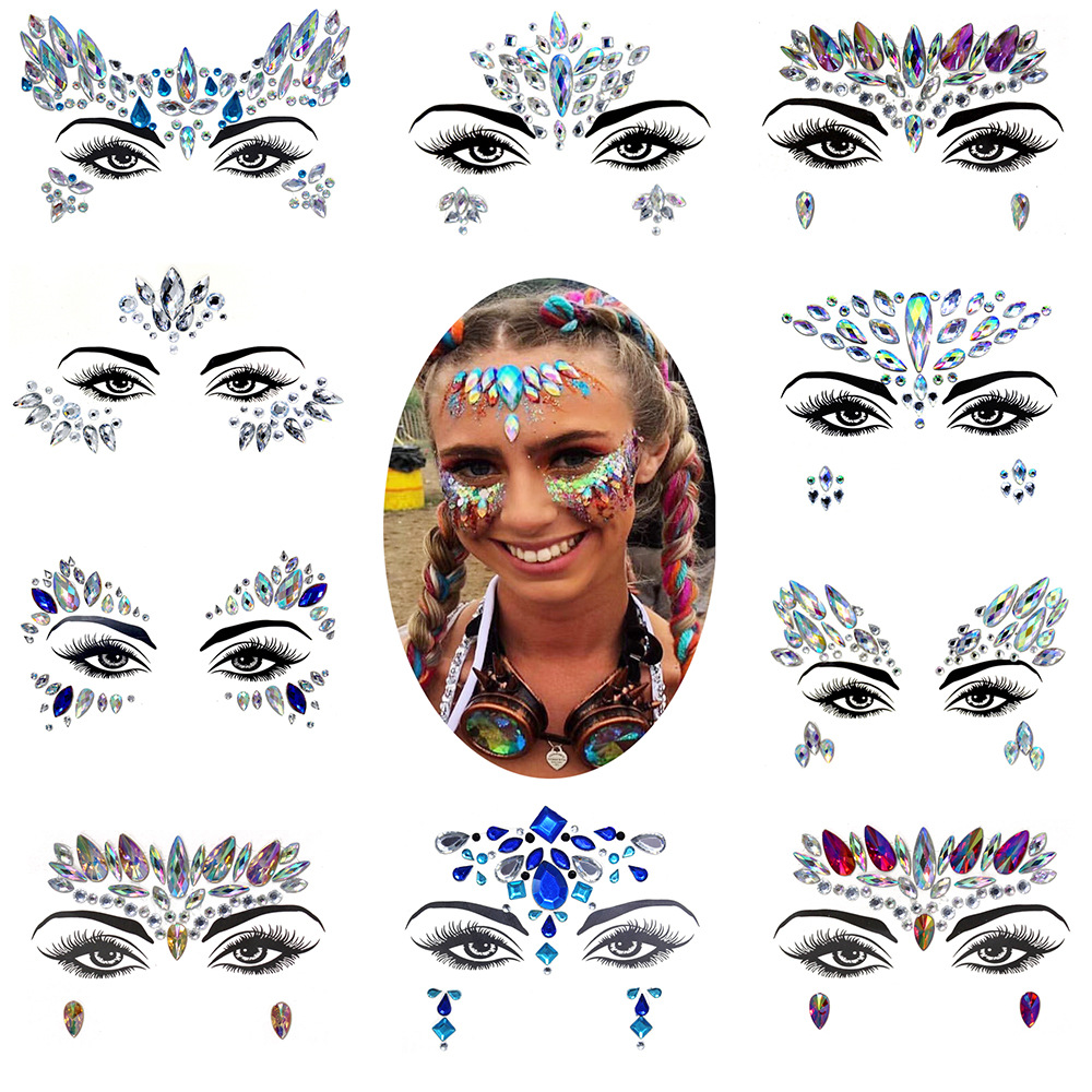 EDM Face Jewels Eyes Temporary Tattoos Fashion Blingbling Resin Drill Nightclub Performance Dance Music Festival Ornament