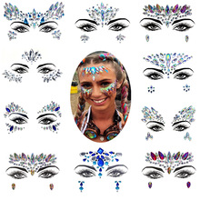 EDM Face Jewels Eyes Temporary Tattoos Fashion Blingbling Resin Drill Nightclub Performance Dance Music Festival Ornament все цены