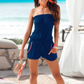 2017 Summer Rompers Womens Jumpsuit Sexy Cotton Off Shoulder Slim Casual Pockets Sleeveless Plus Bodysuit Beach Playsuit
