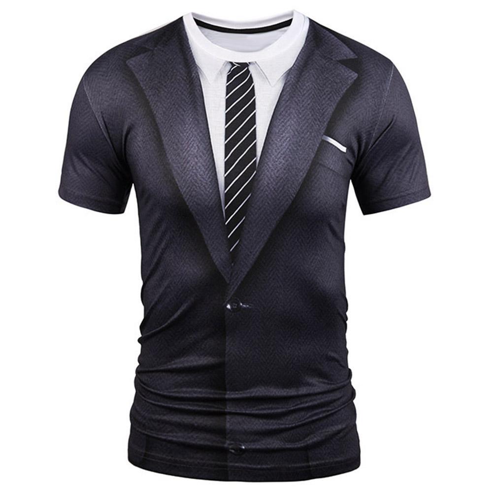 New Fake Suit 3D Print T Shirt Men 2019 Autumn O Neck Men T Shirt Funny Harajuku Slim Fit Male T-shirt Hip Hop