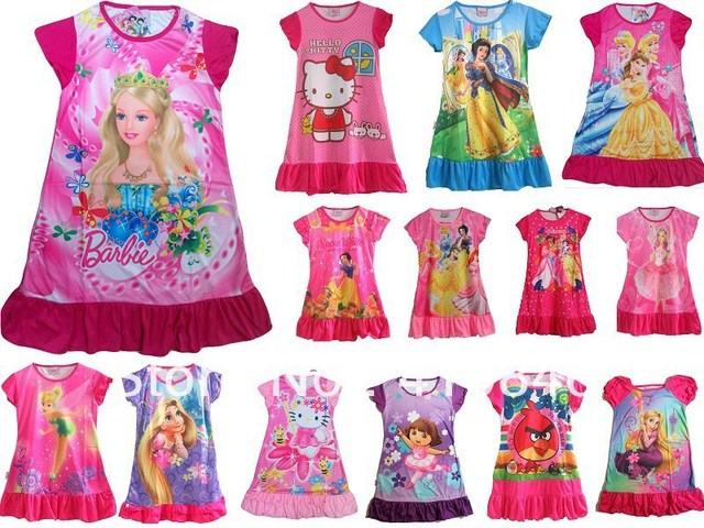 2015 New Minions Princesses Children's dresses Printing casual Cartoon Short sleeve dresses for 3-8T /16 pcs lot