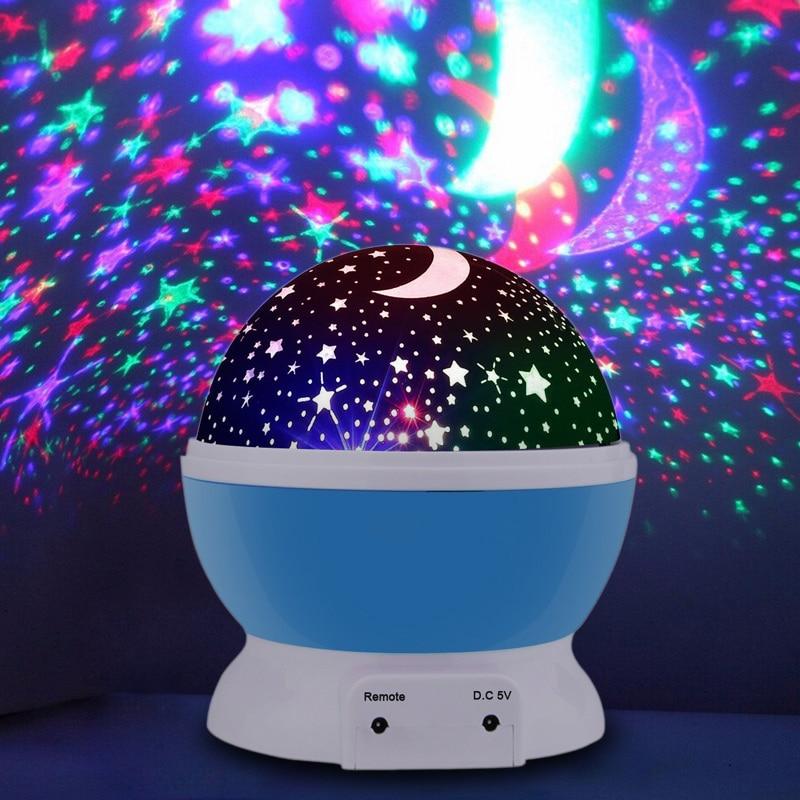 Светодиодный вращающаяся Звезда проектор Новинка освещение Луна Небо вращения Детские ночник Батарея действовали аварийные usb лампа