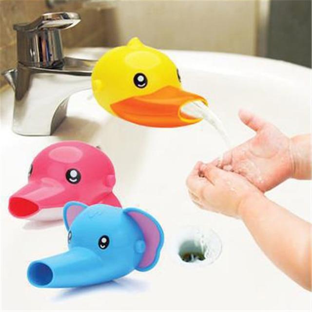 1x Cute Bathroom Sink Faucet Chute Extender Children Nursery Kids Washing  Hands Faucet Extender Cartoon Bathroom