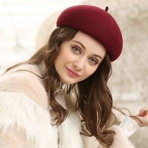 Image 2 - เลดี้ฤดูใบไม้ร่วงและฤดูหนาว Grace คืน Solid ขนสัตว์หมวกผู้หญิง Banqute Pure Wool Felt Beret หมวก