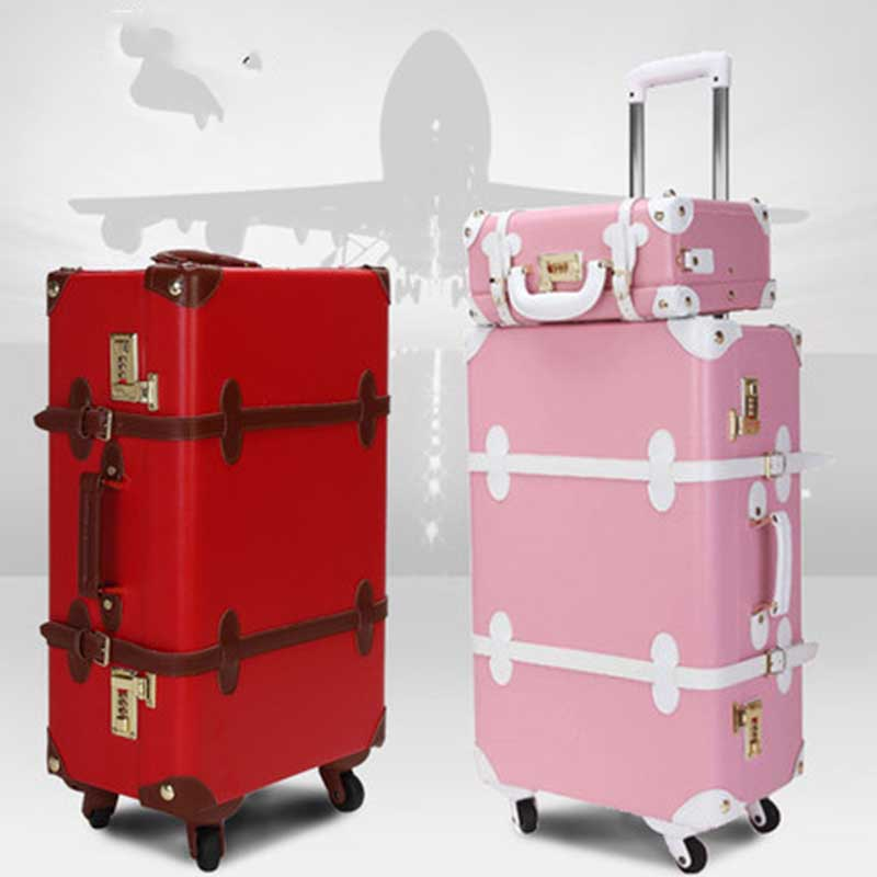 BeaSumore Retro PU Leather Rolling Luggage Set Spinner Women s Handbag Suitcase Wheel Trolley Vintage Women