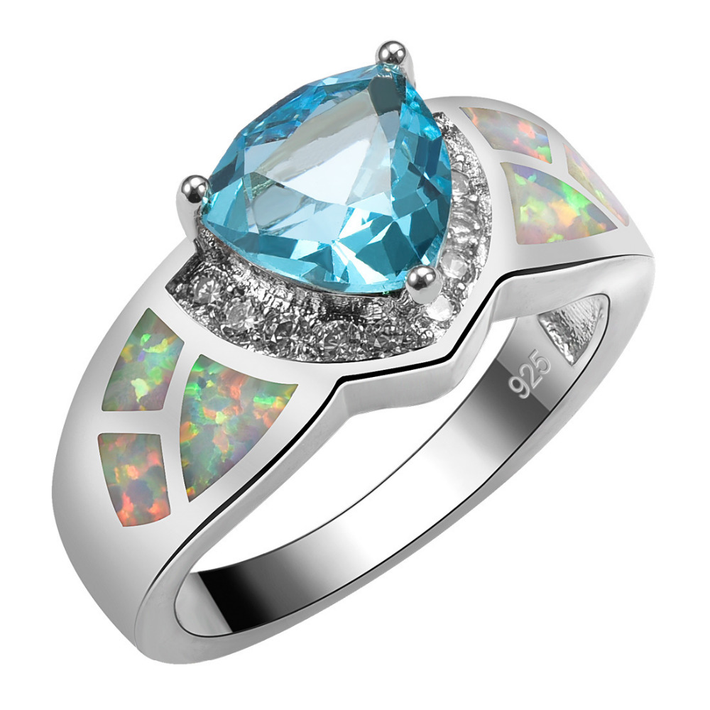 Simulated Aquamarine With White Fire Opal 925 Sterling Silver Ring For Woman Size 6 7 8 9 10 R1532