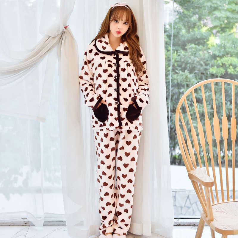 4d90a71aaef Winter Long Sleeve Flannel Breast Feeding Home Wear Plus Size Love Heart  Thickening Maternity Pajamas Flannel Nursing Clothing-in Sleep   Lounge  from Mother ...