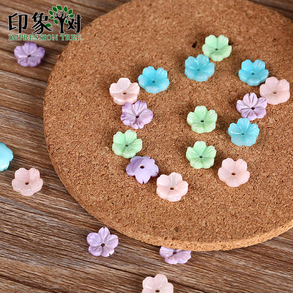 10pcs 10mm Cute Colorful Flower 3D Shell Beads Natural MOP Shell Caps Flower Vein Curved Shell Spacer DIY Jewelry Making 1923