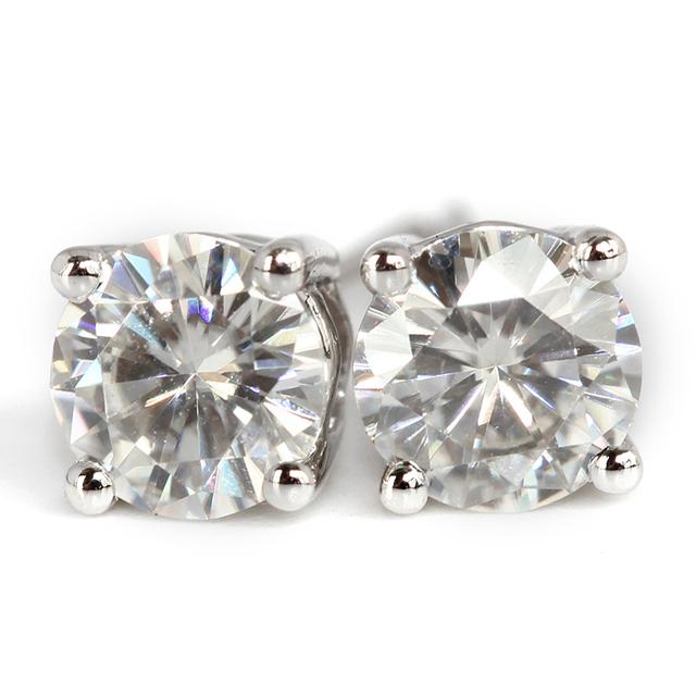 18K 750 White Gold 1CT Lab Grown Diamond Earrings