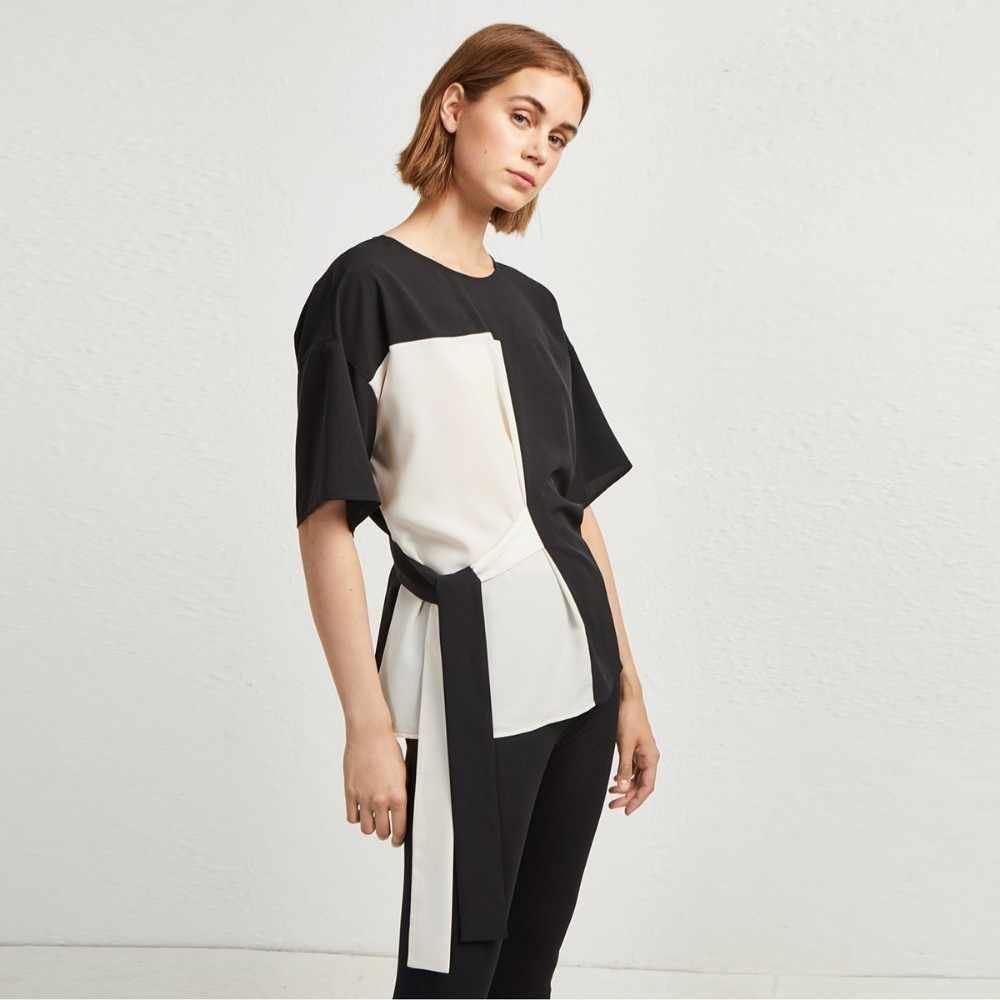 HYH Haoyihui mujer verano elegante Casual Tops holgado ancho de banda manga de color-impacto costura sistema Sashes Patchwork camisetas